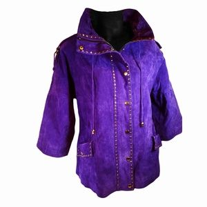 Vintage Purple and Gold Leather 80's Coat Large